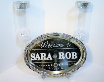 Cards & Gifts Wedding Sign, Welcome sign, Table Number signs, Bling Signs, Wedding Decor, Etched Nickel-Plated Oval Tray, Personalized Signs