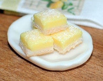 Lemon Bars for Dollhouse,  1:12 scale,  Realistic BJD prop, Dollhouse Kitchen, Dollhouse Bakery, Miniature Dessert