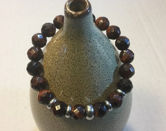 BEADED HEALING  Bracelet  :  Made With Faceted Tiger Eye Gemstones