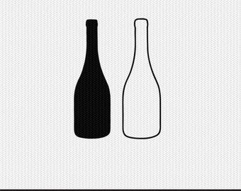 wine bottle outline svg dxf file stencil frame silhouette cameo cricut clip art commercial use