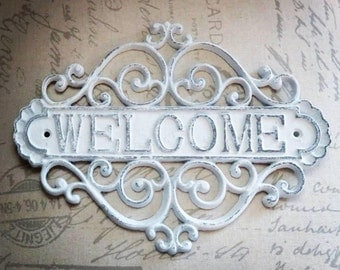 Welcome Sign, Entryway Sign, Welcome Sign for Front Porch, Welcome Sign for Front Door, Metal Welcome Sign, Farmhouse Decor, Rustic Decor