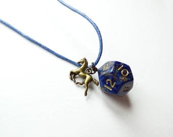Horselord - Dungeons and Dragons D12, Necklace, Pendant, blue, gold, horse, RPG, D&D, Jewellery, Dice, d20, dnd