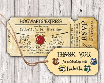 Harry Potter Birthday Ticket Invitation Hogwarts Invitation - Birthday invitations harry potter printable