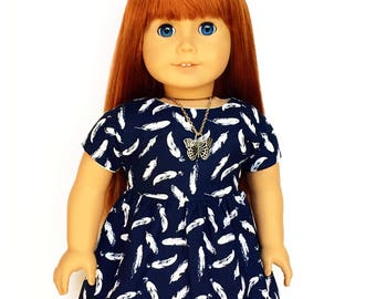 Dolman Dress, Feathers, Navy Blue, White, Short Sleeve, Fall, American, 18 inch Doll Clothes