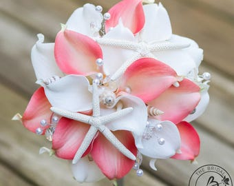 Coral Seashell Wedding Bouquet Nautical Pink Calla Lily Beach