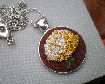 Metallic Hydrangea Embroidered Necklace - Embroidery Necklace Silver & Gold Flower Fiber Art Jewelry - Enchanted Garden Floral Holiday Gift
