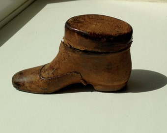 Rare Boot Shaped Novelty Antique Travel Inkwell