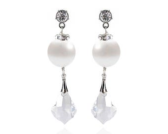 Silver Crystal Stud Crystal Drop Earrings - Swarovski Crystals, Freshwater Pearls, Silver - Style 1110 - Ready to Ship
