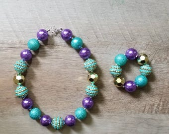 Under The Sea Chunky Necklace, Mermaid Chunky Necklace, Purple & Aqua Necklace, Bubblegum Bead Necklace, Baby Bubblegum Necklace