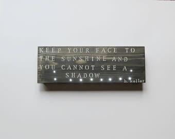 Wood Wall Light Helen Keller Quote Inspirational Wall Art Custom Wood Signs