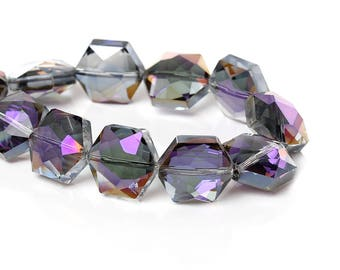 """5 """"Hexagon faceted"""" beads 15mm blue/purple color glass"""