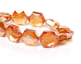 "2 ""Hexagon faceted"" beads 15mm Orange glass"