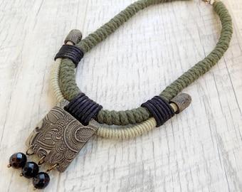 Rope necklace Statement necklace Bib necklace Boho necklace Ethnic necklace Handmade rope jewellery  Unique handmade jewelry Green Amazonia