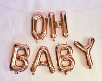 """Rose Gold Mylar Letter Balloons """"Oh Baby"""" Balloon Rose Gold Letter Balloons Baby Shower Gender Reveal Party Rose Gold Decorations"""