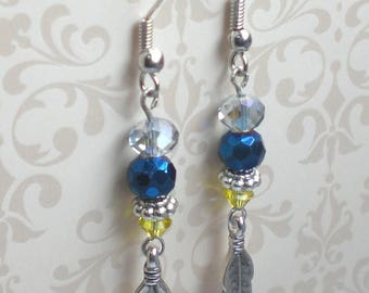 Blue feather earrings Blue yellow earrings Hippie feather earrings Silver feather earrings Blue yellow boho earrings Summer feather earrings