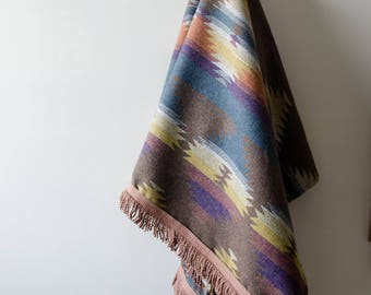 Tribal pattern blanket / Throw with pink trims