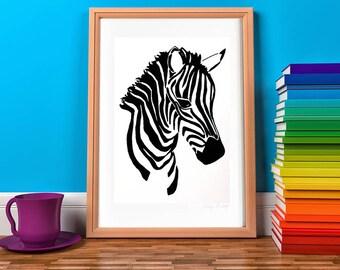Zebra Print, Zebra Nursery, Zebra Gift, Jungle Nursery Art, Safari Nursery, Safari Animal Print, Kids Art, Kids Print, Monochrome Kids Art