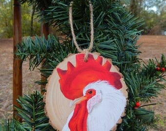 Rooster Hand painted wood slice ornament
