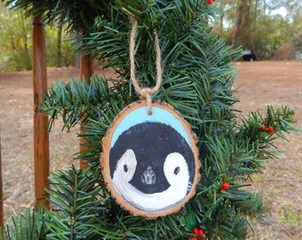 Baby Penguin Hand painted wood slice ornament