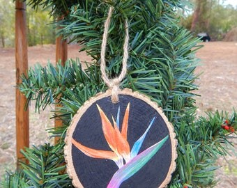 Bird of Paradise Flower Hand painted wood slice ornament