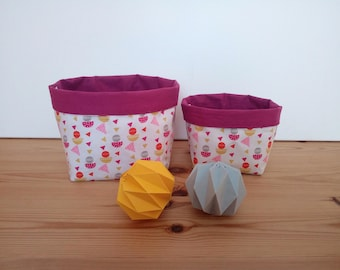 Printed with geometric shapes and plain cotton storage baskets plum / nursery / reversible baskets / fabric baskets