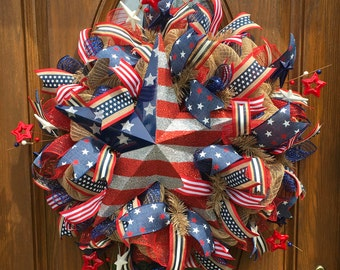 Deco Mesh Patriotic Wreath, 4th of July Patriotic Wreath, Red White Blue Patriotic Wreath, Burlap Patriotic Wreath, Fourth of July Wreath