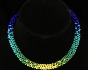 Kumihimo Necklace in Graduated Colors - Spring Green to Dark Blue