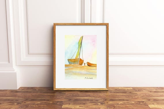 little picture with sail boat on sunset, copy of author, watercolor with pastel colors, gift idea for sailors, boys bedroom decoration.