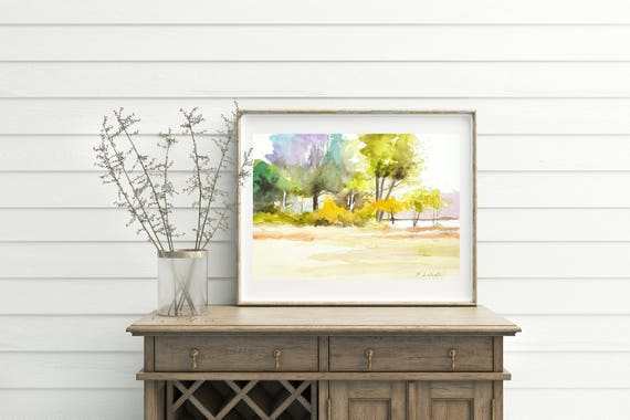 Traditional landscape with colored trees, autumn image, copy of author, present for him, home office studio restaurant decoration, wall art.