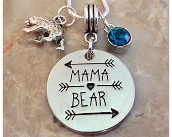 Mama Bear Necklace, Mother Necklace, Mom Jewelry, Mama Necklace, Gifts For Mom, New Mom Necklace, Mom Charm Necklace