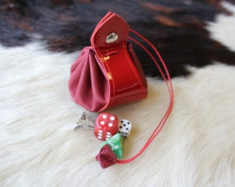 Leather purse. Purse for dice; medieval purse; wallet; Red purse; for the purse