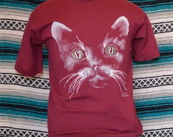 90s Screen Stars Best Single Stitch Cat Shirt Skeezik Wild Hare Large 50 50 Cotton Polyester Maroon