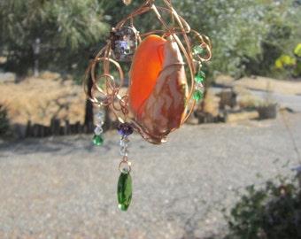 Cross & Shell Sun Catcher - Green Crystal #0148