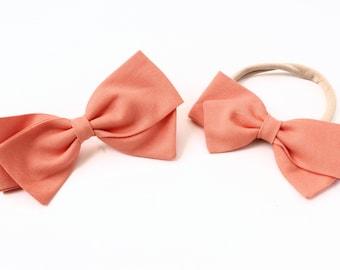 Peach Bow - Fabric Hair Bows for Girls - Baby Bows