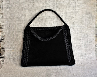 Black suede bag | Etsy