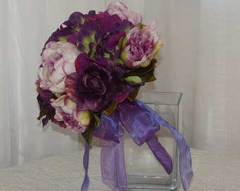 Purple Hydrangea, Rose and Peony Brides Bouquet, Purple and Pink Wedding Bouquet, Hydrangea, Rose and Peony Bridal Flowers, Purple Bouquet
