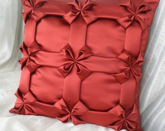 Silk Smocked Cushion Burgundy Red Pillow, Pillow Sofa, Smocked Pillow, Burgundy Cushion, Throw Pillow Cover, Room decor ideas