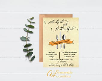 Thanksgiving Invitation, Eat, Drink and Be Thankful, Thanksgiving Dinner, Friendsgiving Invitation, Friendsgiving, Digital Printable File