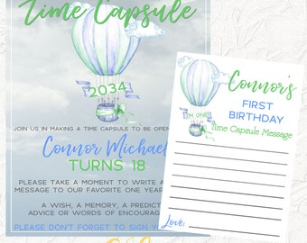 Hot Air Balloon Time Capsule, First Birthday, Time Capsule Sign, Boy Time Capsule Sign, Blue and Green, 1st Birthday Party, Digital File