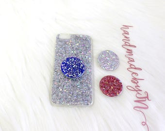 Sparkle Glitter Pop socket Grip Phone Holder Ring Stand Pop Up Personalized Monogram initial Phone case for IPhone Android Samsung galaxy