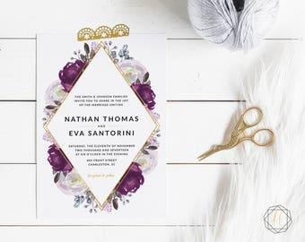 Printable Invite Set, DIY Invitation Suite, Rustic Invite Set, Floral Invitation Suite, Boho Wedding Invites, Plum Wedding Invitation #LFG
