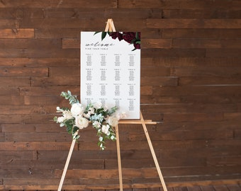 Wedding Seating Chart, Seating Chart Wedding, Wedding Table Plan, Seating Charts, Wedding Sign, Marsala Wedding, Floral Seating Chart, #BPS