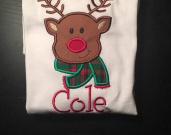 Boys Christmas shirt, Reindeer shirt, boys reindeer shirt, Rudolf shirt, baby boy Christmas shirt, first Christmas, Monogrammed Christmas