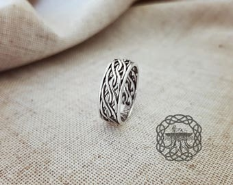 Braided Ring Sterling Silver Norse Ring Viking Jewelry