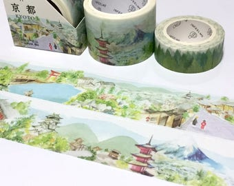Japan Kyoto landscape World landmark washi tape 5Mx 3cm pavilion vintage Asian building nature scenes travel planner sticker wild tape gift