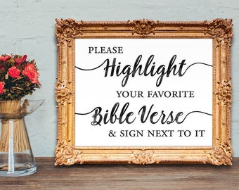 Bible guest book - highlight your favorite verse and sign next to it - wedding guest book - wedding bible guest book PRINTABLE - 8x10 - 5x7