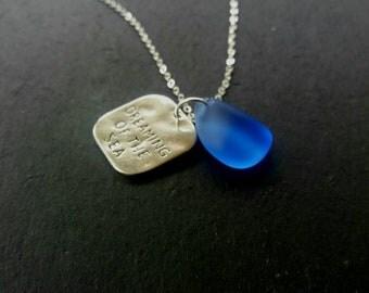 Blue Sea Glass Jewelry Blue Sea Glass Necklace Beach Glass Necklace Sea Glass Pendant  Beach Glass Necklace  Irish Sea Glass Mermaid Jewlery