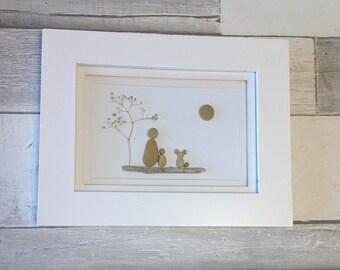 Single Parent with Dog Pebble Art ~ unique single parent gift, original art, birthday gift, unique housewarming gift, single mom, single dad