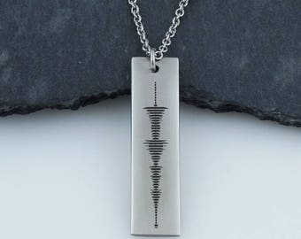 """Personalized Sound Wave Bar Necklace - Stainless Steel - Audio File Heartbeat Actual Audio File, 18"""""""
