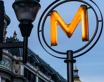 Metropolitan Paris -  Night Photography - Urban Decor - Night Photography - Paris Night - Street Photography  - Yellow M - 0102